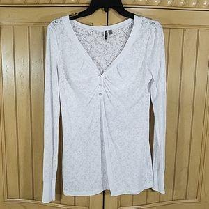 BKE White Long Sleeve Top, sz large